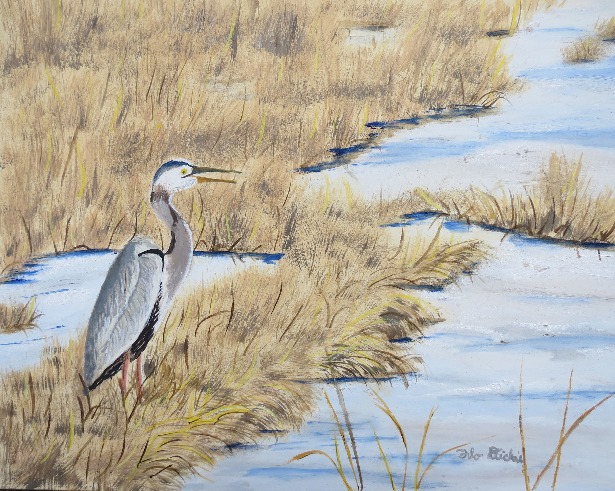 Blue-Heron-by-Stream-Sept-exh.-14